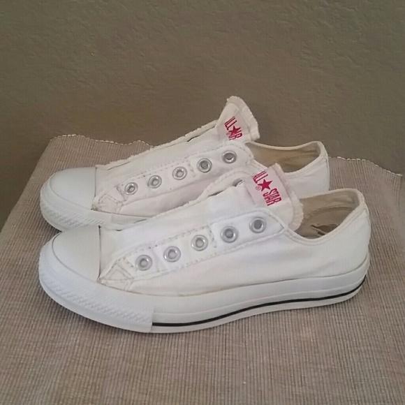 6d613dd6ea02 Converse Shoes - White Converse sneakers no lace slip on 6