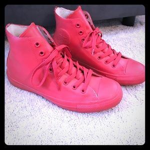 Red rubber converse- chuck taylors