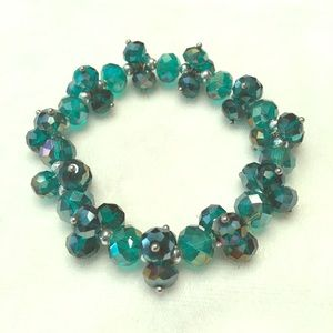 Peacock/Teal stretch sparkly bracelet