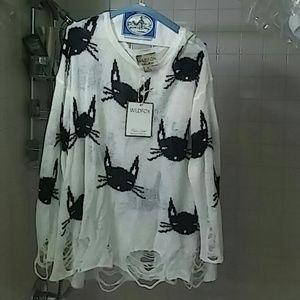 WIILDFOX WHITE LABEL dIstessed Cat Sweater M