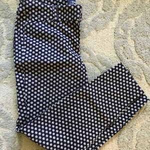 Old Navy mid-rise pixie pant blue/white size 6