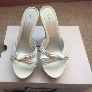 White High Heel Platform Dress Sandals