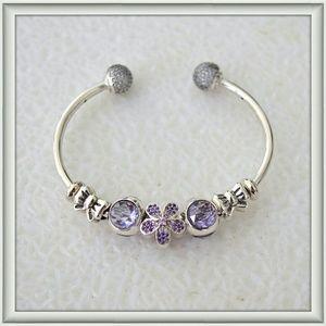 New sterling silver open bangle charm bracelet