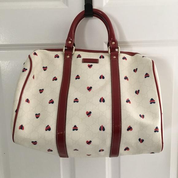 9eadc6d5dd8 Gucci Handbags - Gucci Boston bag red white blue hearts monogram