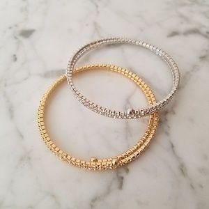 Rhinestone Coil Wrap Bracelets