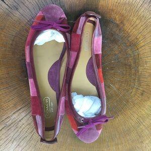 Coach Ballet Flats, patchwork suede, Size 9 1/2M