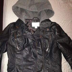 Women's Faux Leather Jacket With Hood