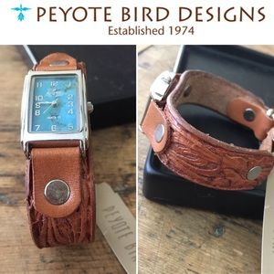 Peyote Bird Tooled Leather Watch - NWT