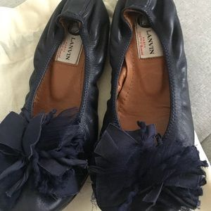 Gorgeous LANVIN Ballerina Flat Navy Blue Sz.36