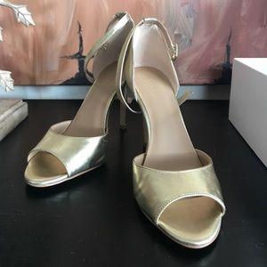 "Gold peep toe ankle strap 3"" heels"