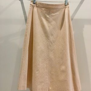 J.Crew Peach and Gray Striped A-Line Skirt GUC