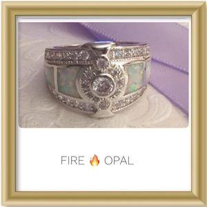 🔥Fire Opal Moissanite Silver Filled CZ Band Sz 8