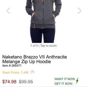 Naketano Brazzo VII Anthracite Melange Zip Up Hoodie 266471