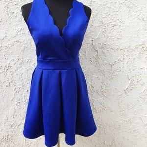 Dresses & Skirts - Blue Scallop Neckline Dress