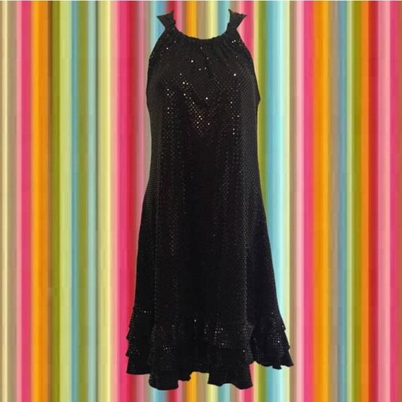 Dresses & Skirts - vintage 90's black on black sparkly party dress
