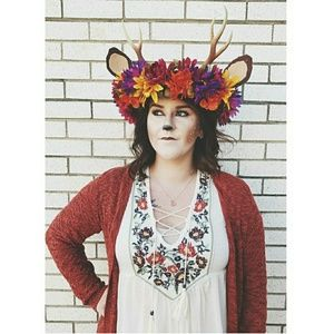Deer antler flower crown