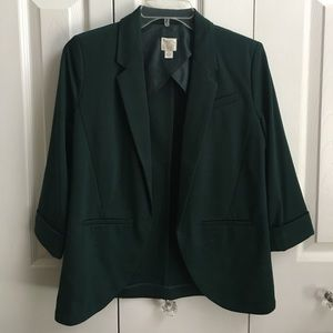 Dark green open-front blazer