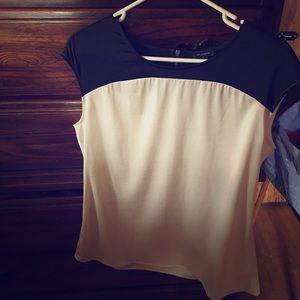 Ann Taylor black & cream blouse with zipper detail