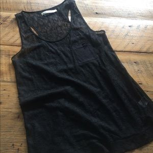 Madewell Hi-Line Lace Tank with Solid chest pocket