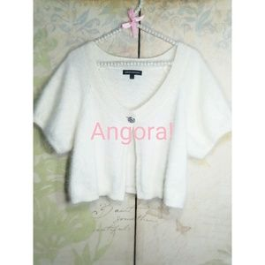 Express Cream Angora jewel button bolero