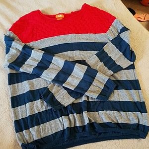 Navy blue and grey striped sweater w/red knit