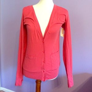 Salmon pink cardigan with pockets NWT