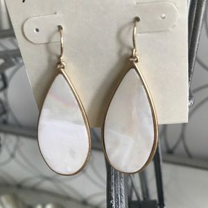 White and Gold Iridescent Earrings