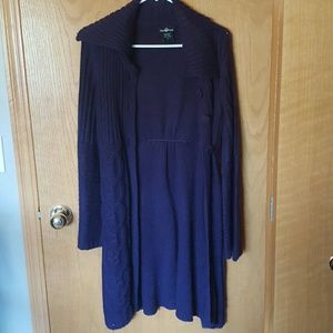 Long Purple Knit Cardigan
