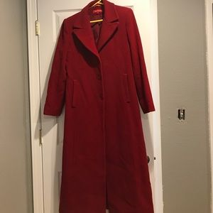Anne Klein Long Red Pea Coat size 6