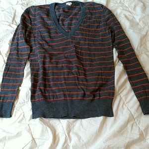 J. Crew gray and orange striped sweater