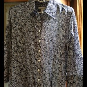 Coldwater Creek cotton paisley blouse 3/4 sleeve