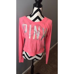 Long sleeve PINK jeweled top ✨