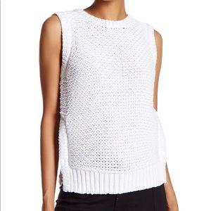 Equipment Sleeveless White Knit Sweater