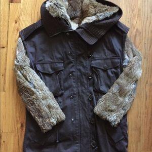 3.1 Phillip Lim Brown Rabbit Fur Lined Parka