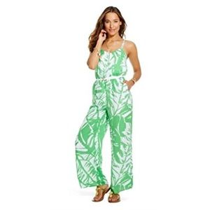 NWT Lilly for   Green Palm Jumpsuit Large