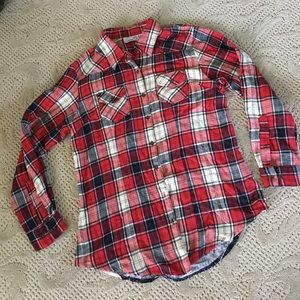 Sz M tunic length flannel shirt w/ back detail
