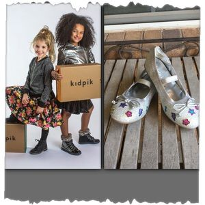 Girls Kidpik Silver Glitter Ballet Flats