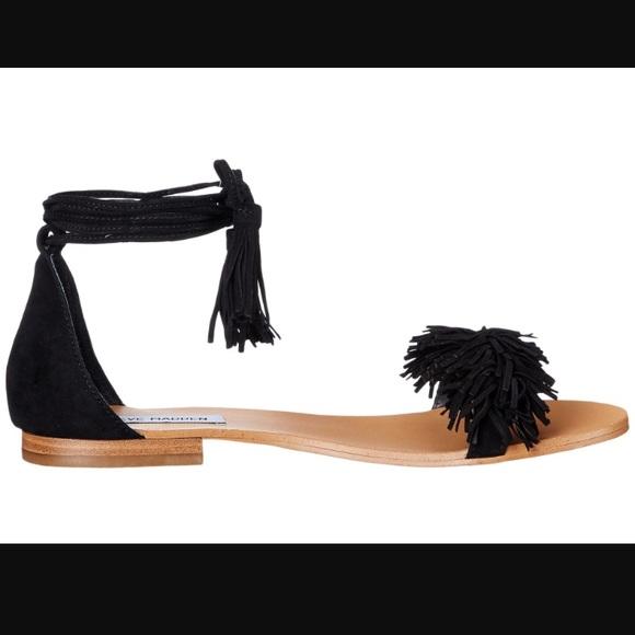 a02467d807f Steve Madden ALAINE black lace up ruffle sandal NWT