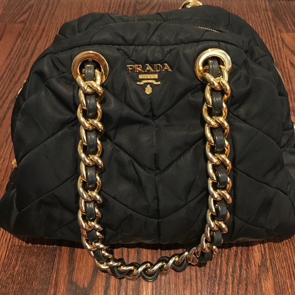 abb3c9a6c4b3 Authentic Prada Black Quilted Bag Chain Handles. M 59c7f2d34225be833402aabf
