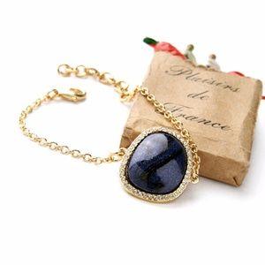Navy Blue Gold Chain Bracelet