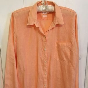Tangerine Linen Button Down from The Gap
