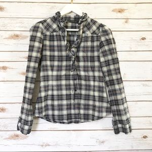 ZARA Woman Plaid Ruffle Button Up