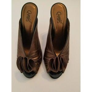 Carlos Santana Bronze Peep Toe Leather Heels