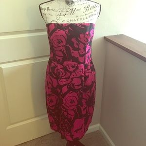 Express pink and black strapless cotton dress