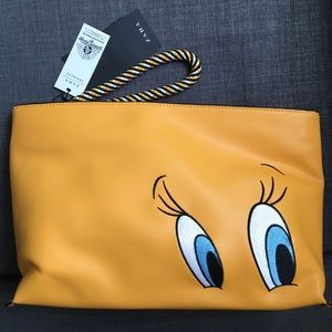 ZARA yellow tweety clutch bag