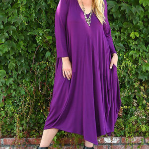 Emerald. Dresses - PLUS Purple Draped Midi Dress  1X, 2X, 3X