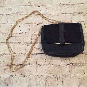 zara basics black gold cross body purse size small