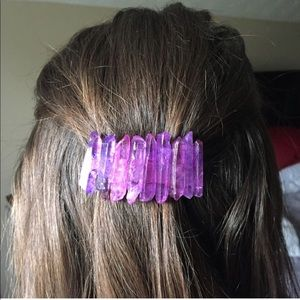 Large Purple Crystal Barrette