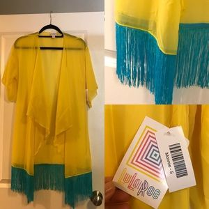 Sheer Yellow Blue Monroe Kimono Fringe Cover Up