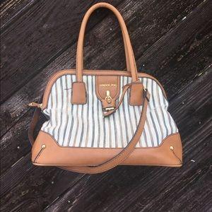 Striped and Brown London Fog Satchel Bag